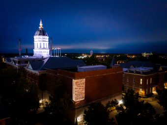 projection on jesse hall at night