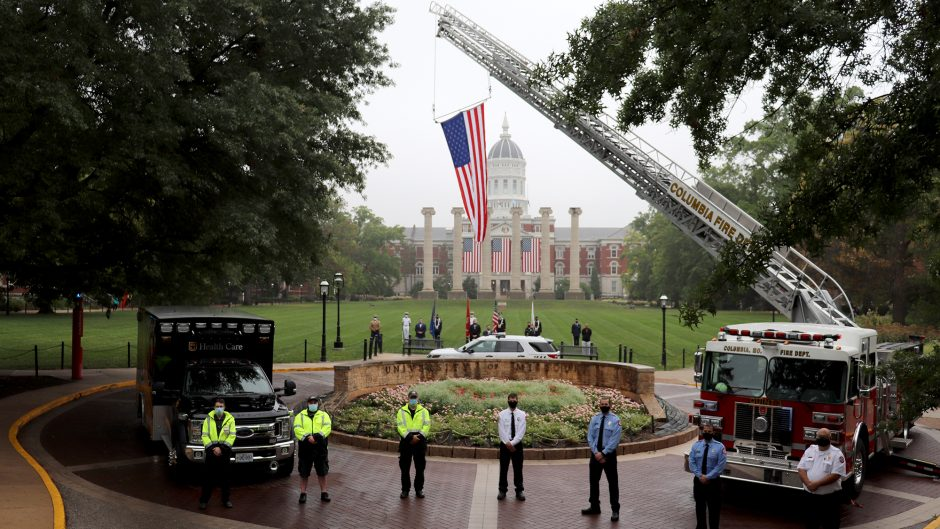 To commemorate the lives lost on Sept. 11, 2001, UM System President and MU Chancellor Mun Choi joined first responders and others for a short wreath-laying tribute on this Patriot Day.