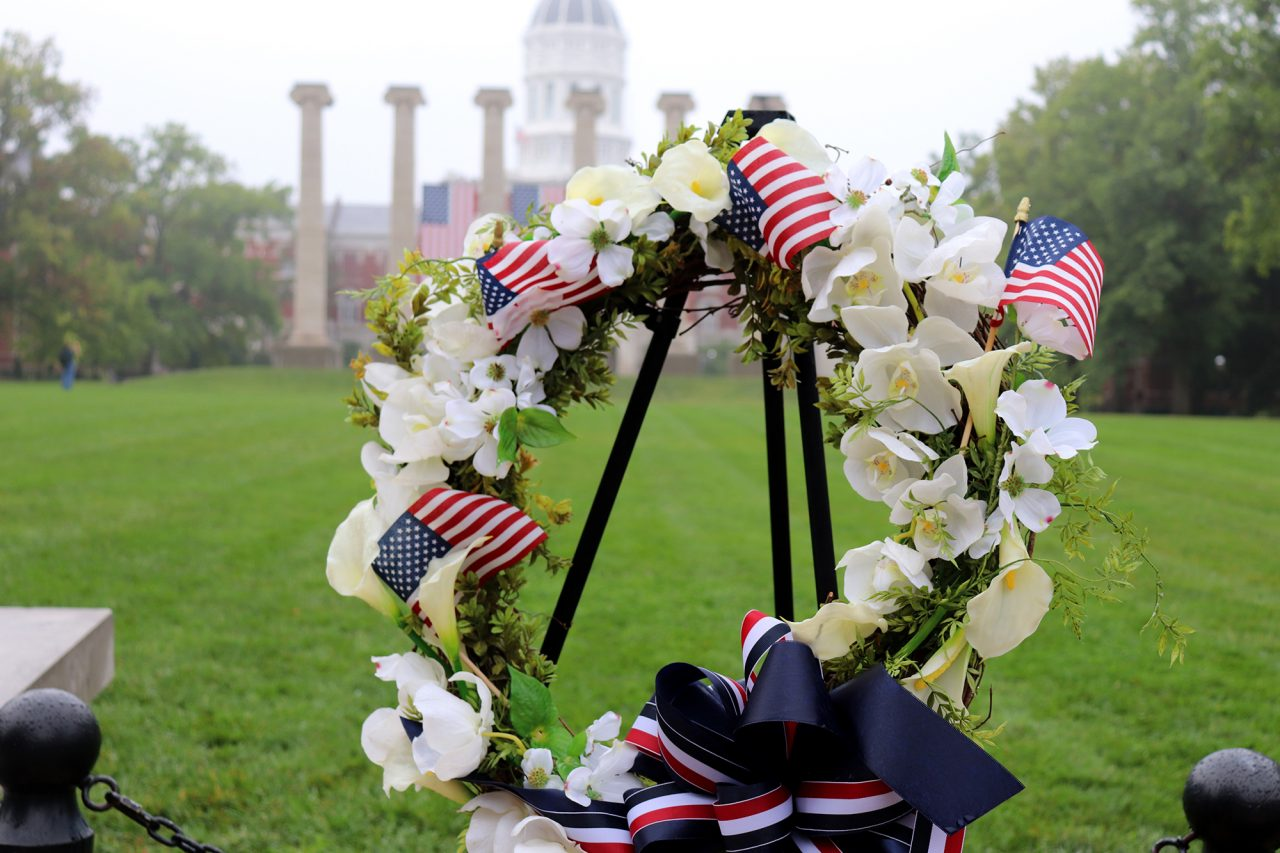 A wreath waits to be placed in remembrance of lives lost on Sept. 11, 2001.