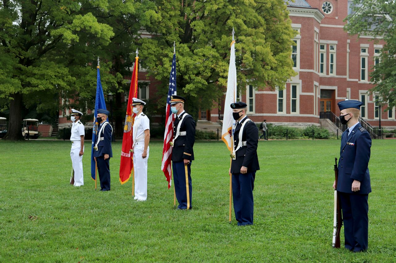 Members of the ROTC Joint Services Color Guard stand on the Quad.