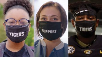 three students in separate photos wearing masks that spell out