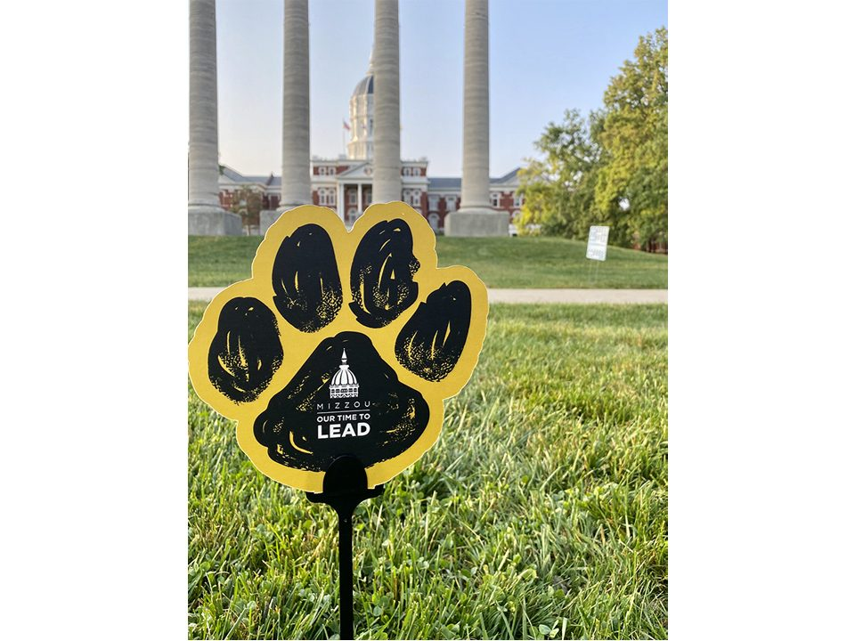 close-up of a paw sign on a stick