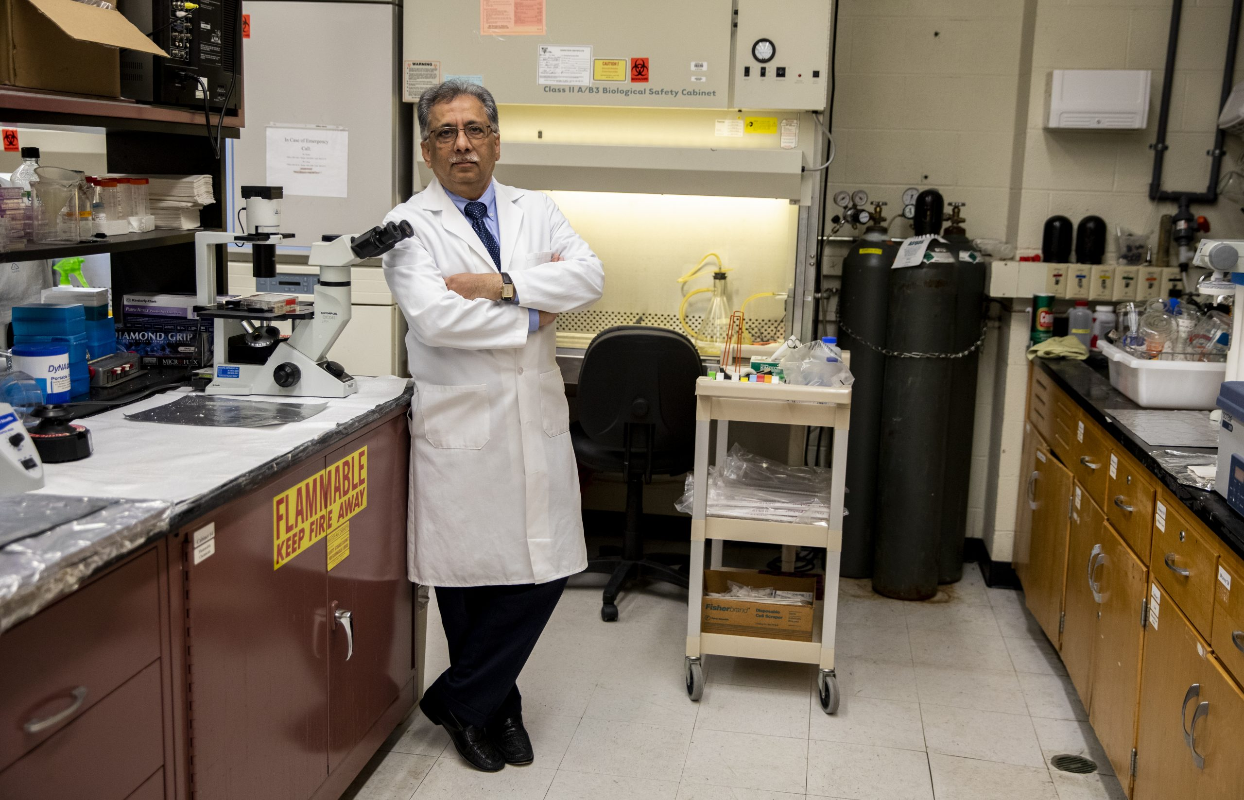 Salman Hyder in his lab at the Dalton Cardiovacular Research Center at the University of Missouri. He has spent nearly two decades searching for a way to stop breast cancer.