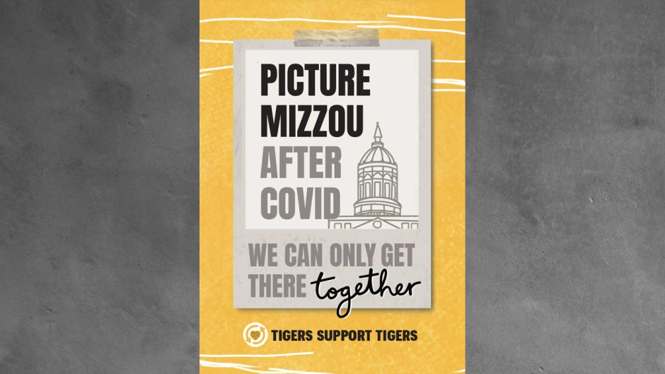 Megan O'Russa's art that says: Picture Mizzou after COVID. We can only get there together #TigersSupportTigers