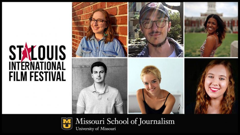 film festival logo with six student headshots