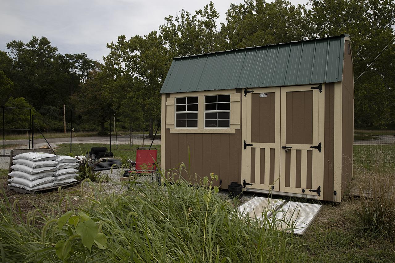 a shed in the Kirklin Garden