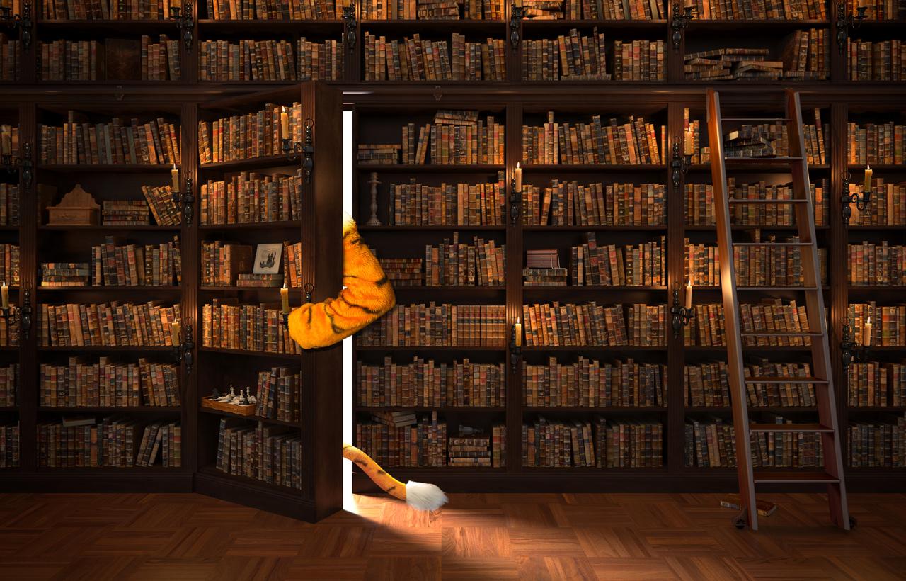 mascot entering secret bookcase door
