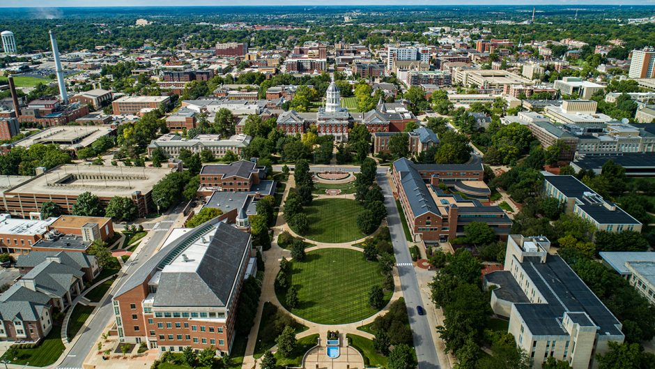 aerial shot of mizzou campus
