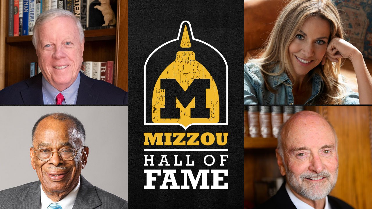 hall of fame logo with four people's photos