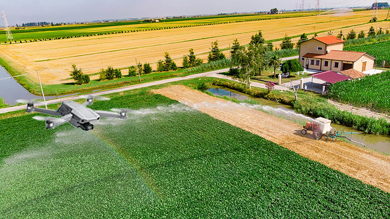 This photo illustration shows how a drone captures aerial video of a farm. A Mizzou research team is devising a way to pull high-resolution images from that video footage automatically.