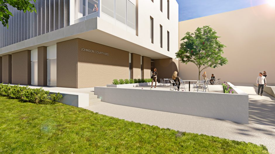 This is a rendering of the new building's courtyard.