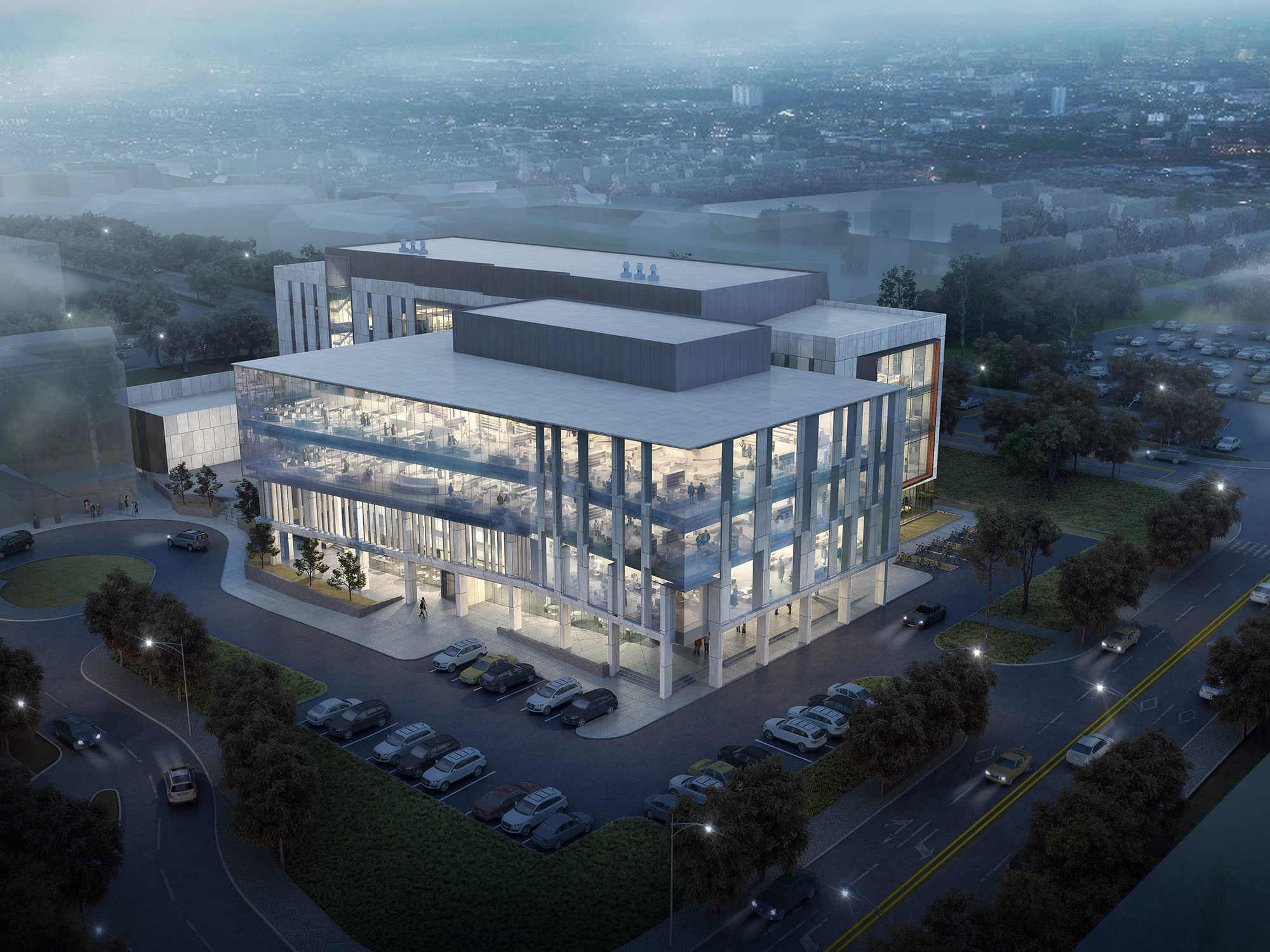 rendering of next gen precision health building at night