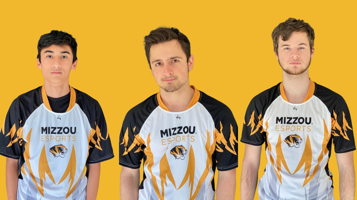 Christian VanMeter, Riley Putnam and Tristan Bennett on a gold background