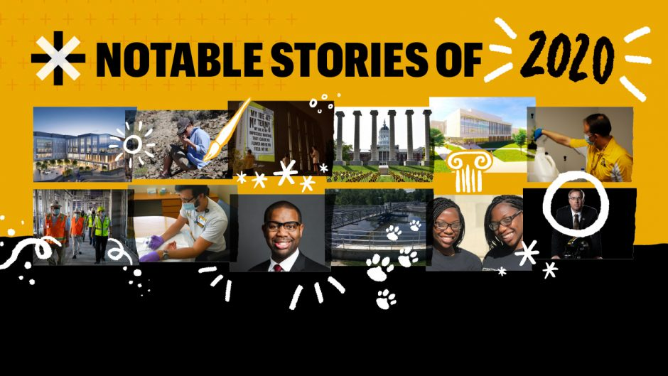 black and gold graphic with photos from top stories on it
