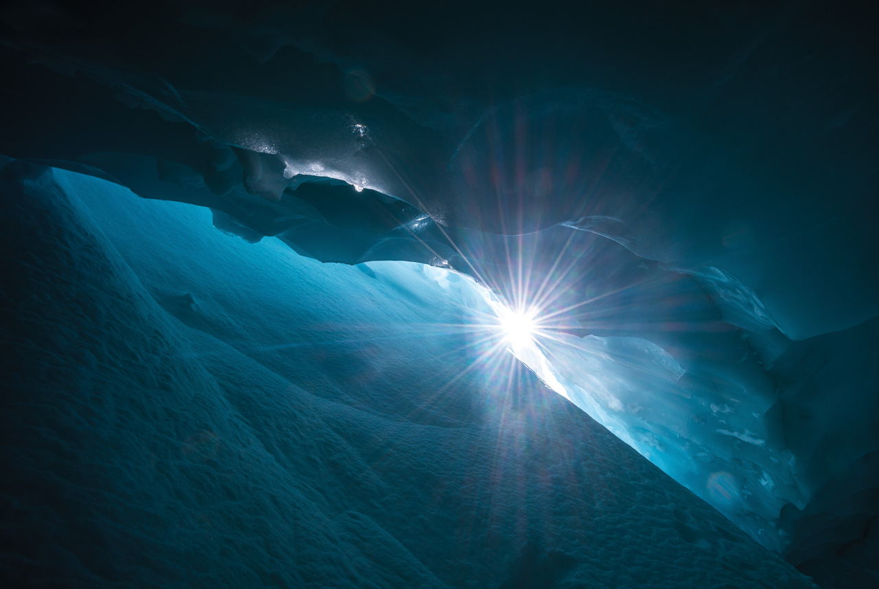 looking up from inside crevasse