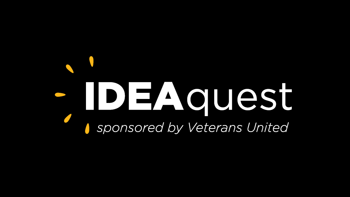 """black background logo with """"idea quest sponsored by veterans united"""" text"""