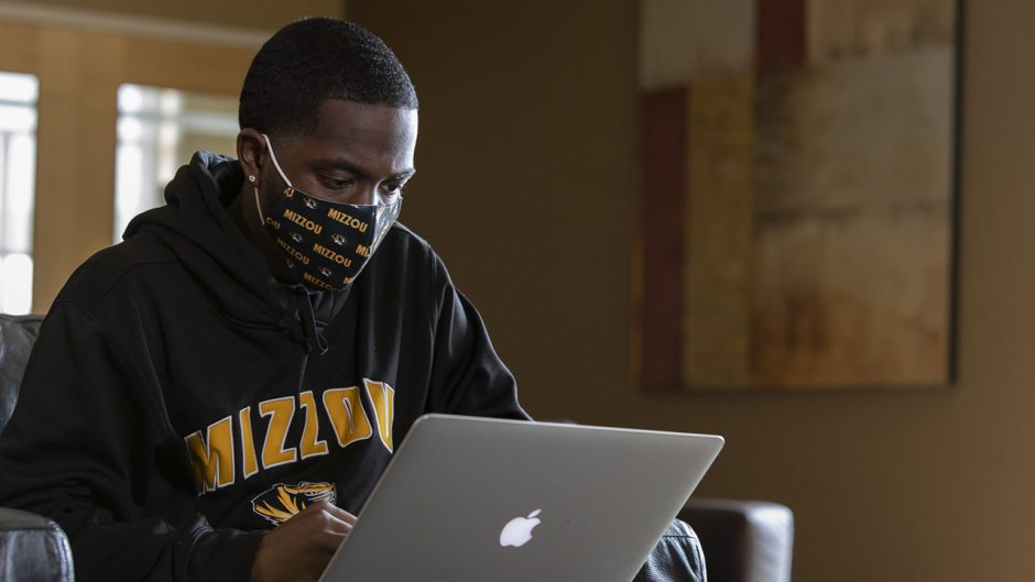 Christian McDonald, a journalism major, studies in the Student Center Sept. 11, 2020. Sam O'Keefe/University of Missouri
