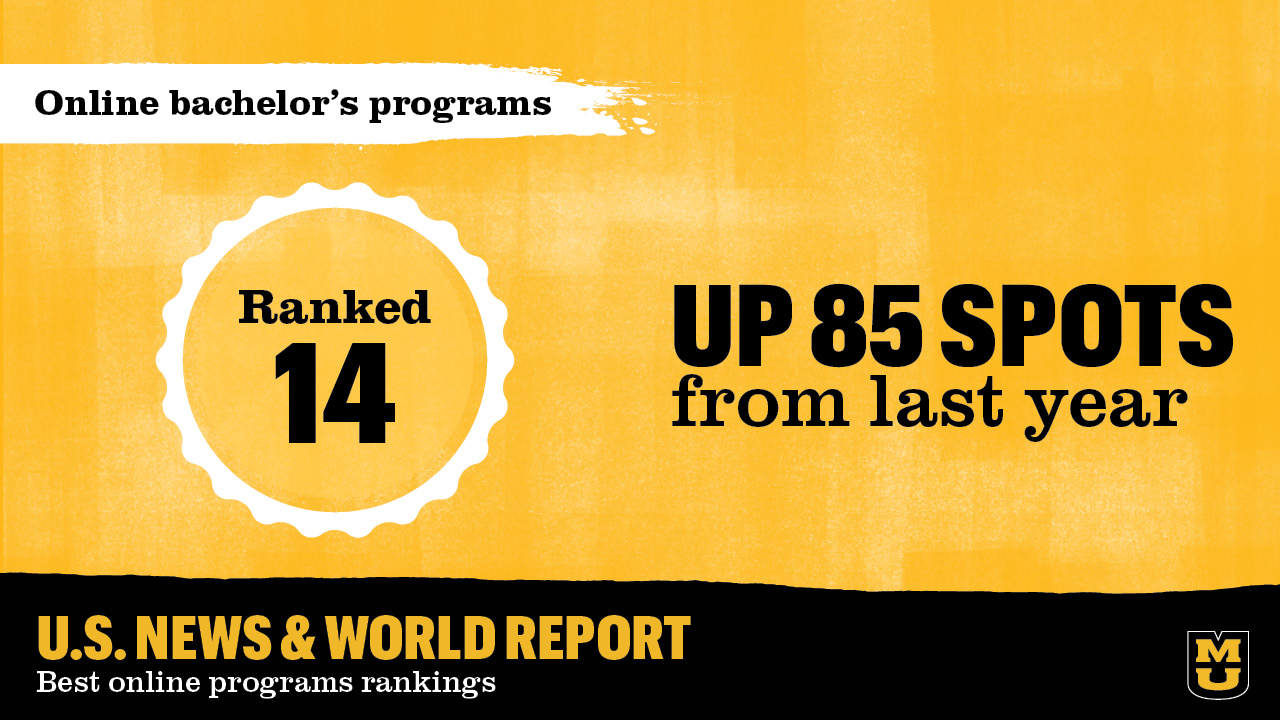 graphic that shows MU is ranked 14th for online bachelor's programs