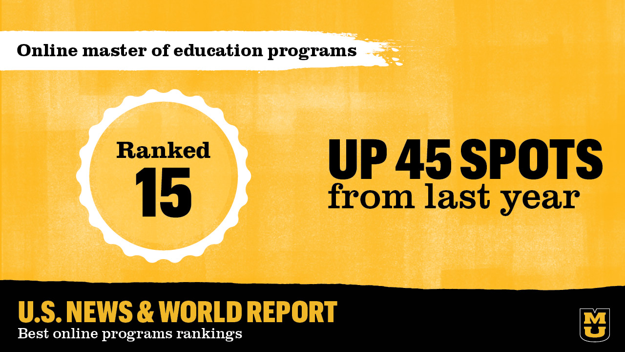 graphic that shows MU ranked 15th in online master of education programs