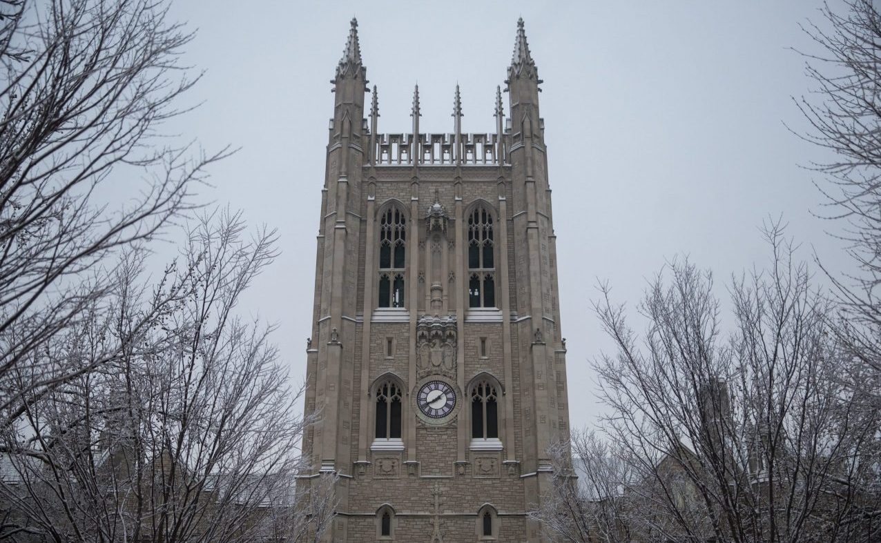 Snow dusts the top of Memorial Union