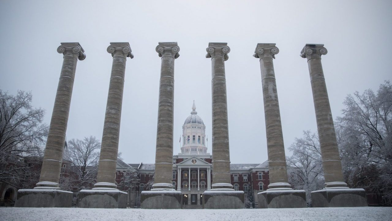 Jesse Hall and the Columns covered in snow