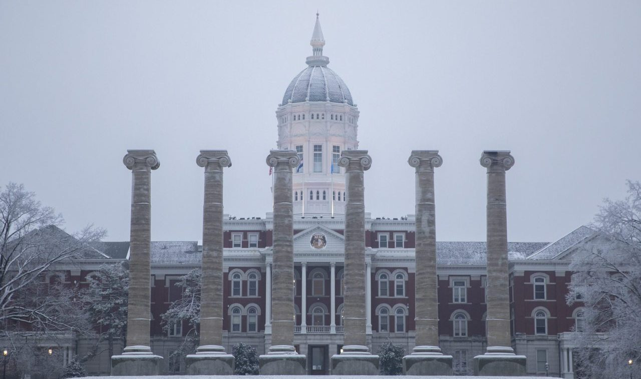 Snow on Jesse Hall and the Columns
