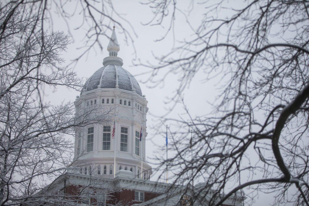 Snow on the Jesse Hall dome