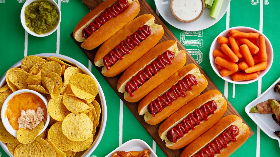 Hot dogs for game day, super bowl food