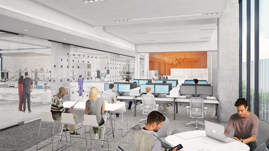 rendering of nextgen building with a collaborative workspace