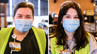 two nursing students wearing face coverings