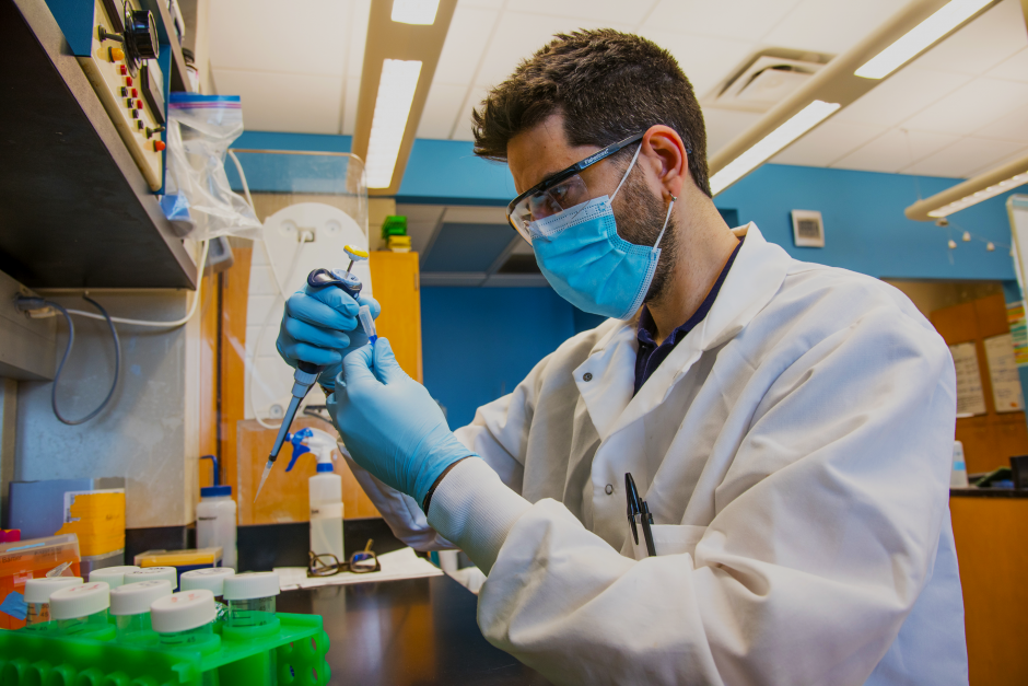 David Porciani, an assistant research professor, works in the Burke lab at the Christopher S. Bond Life Sciences Center on the University of Missouri campus.