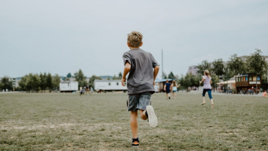 This is a photo of a kid running.