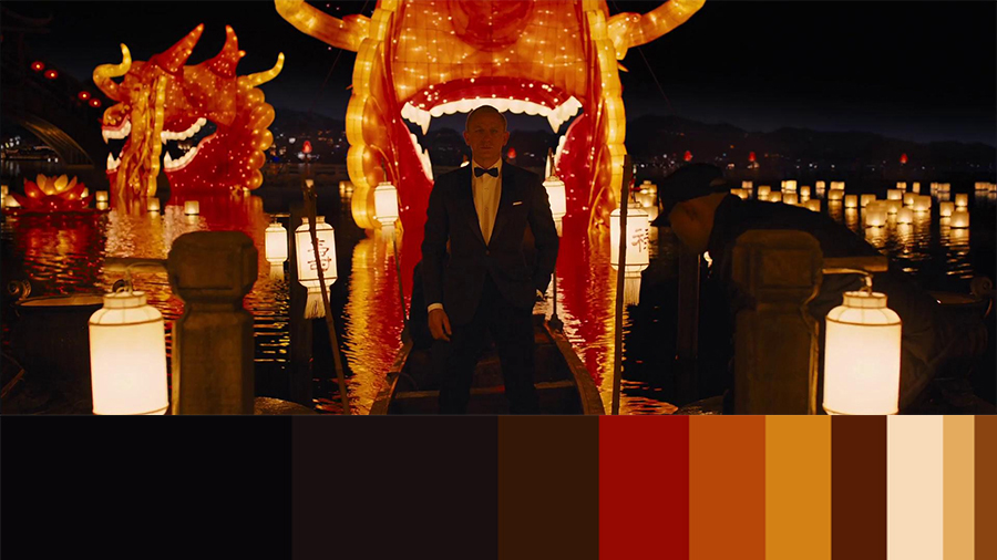 """screenshot of the movie """"skyfall"""" with a color palette below it"""
