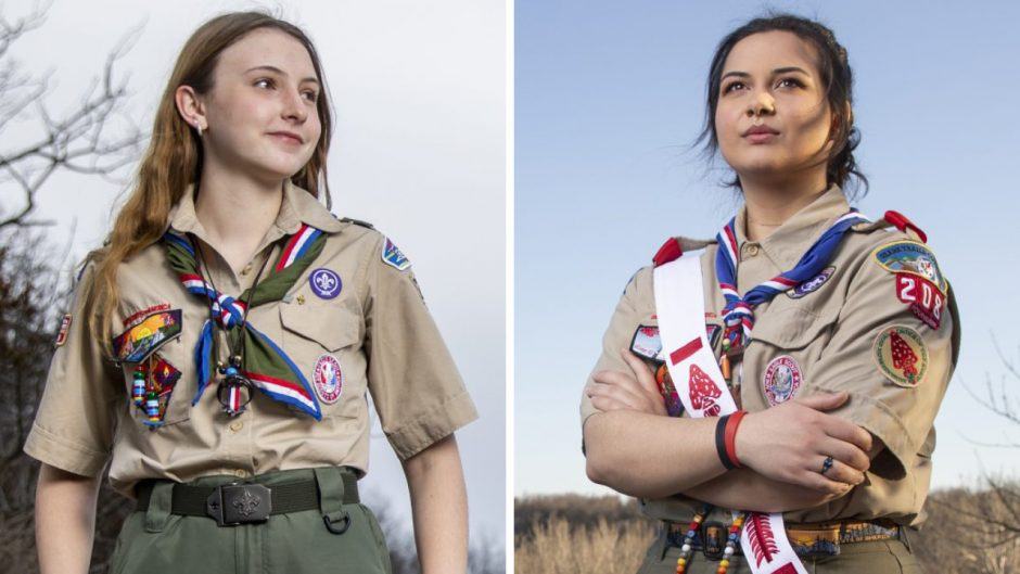 Alt text: two headshots of women smiling in their Eagle Scout uniforms