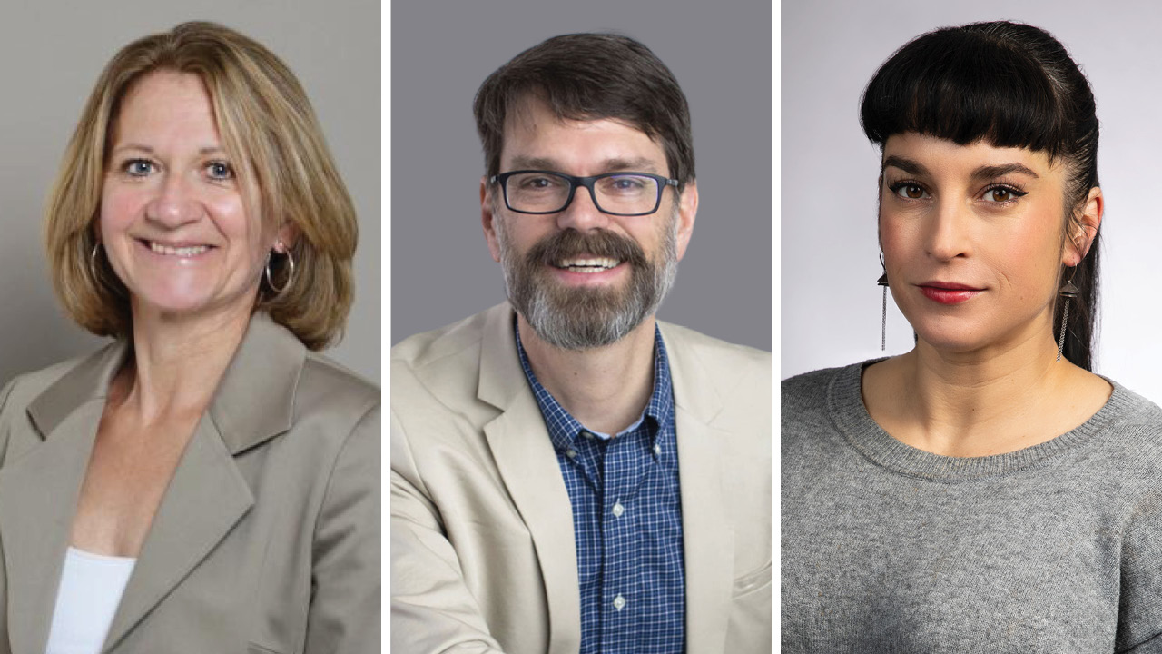 Ines Segert, J. Scott Christianson and Libby Cowgill headshots