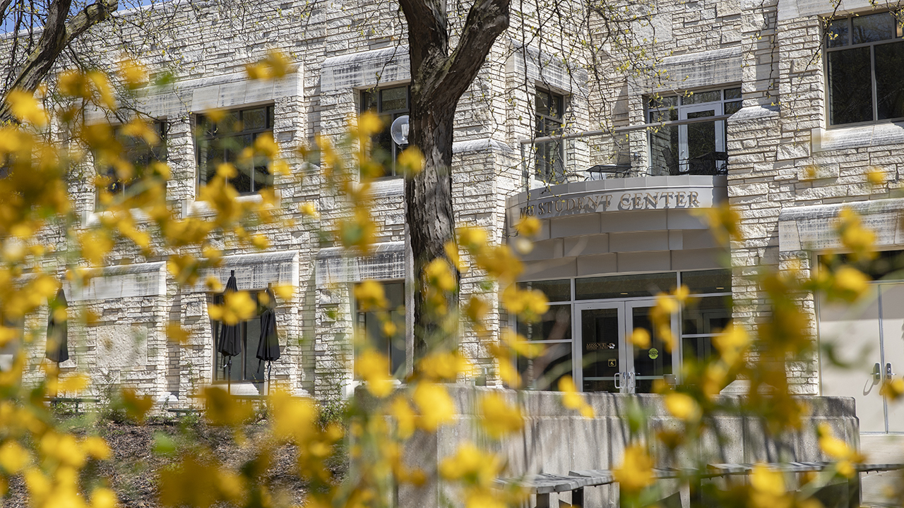 Spring flowers and trees outside the Student Center