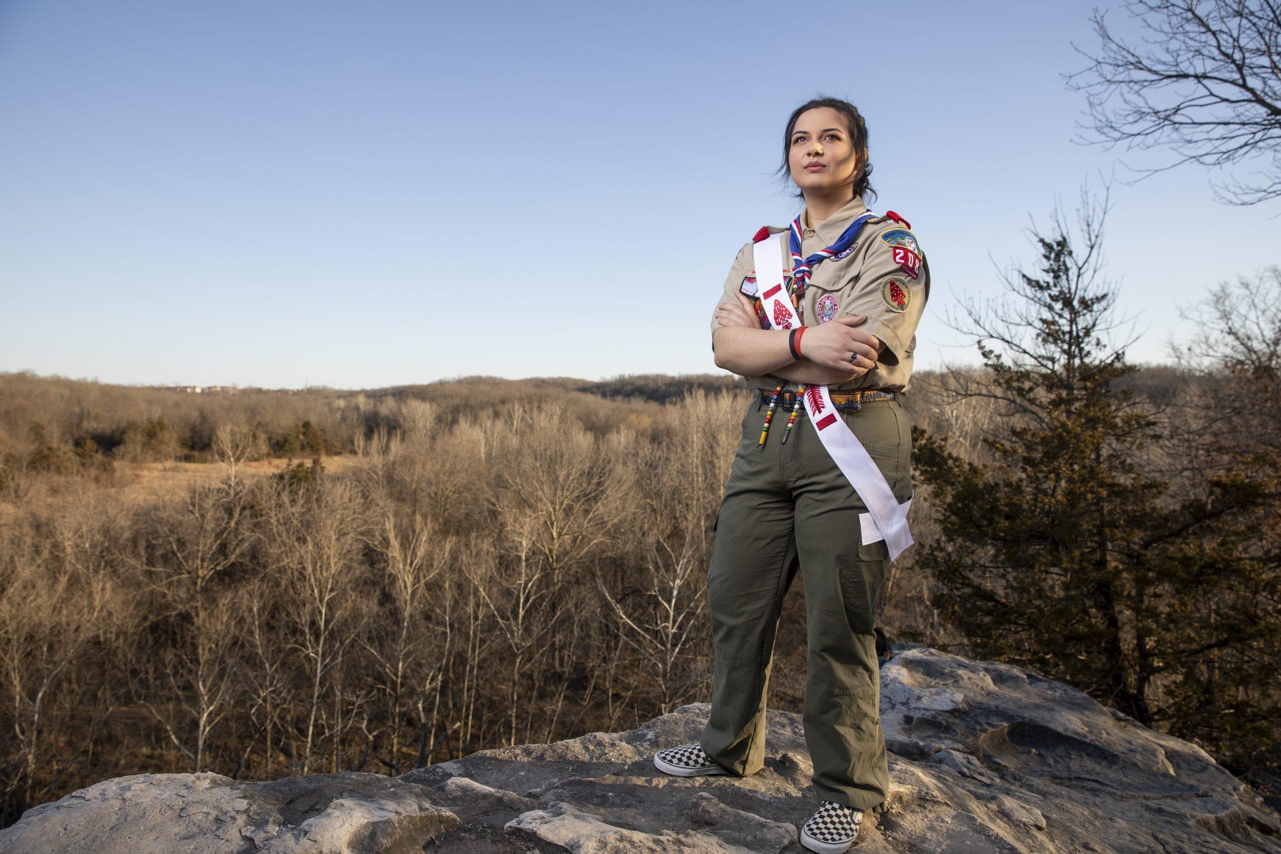 MU Freshman Emily Schmidt is among the inaugural class of female Eagle Scouts.