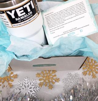 yeti cup with tissue paper around it