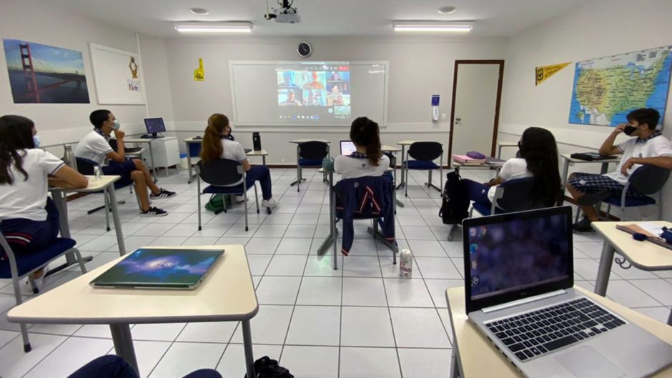 students in a classroom in Brazil connect with Mizzou Education students