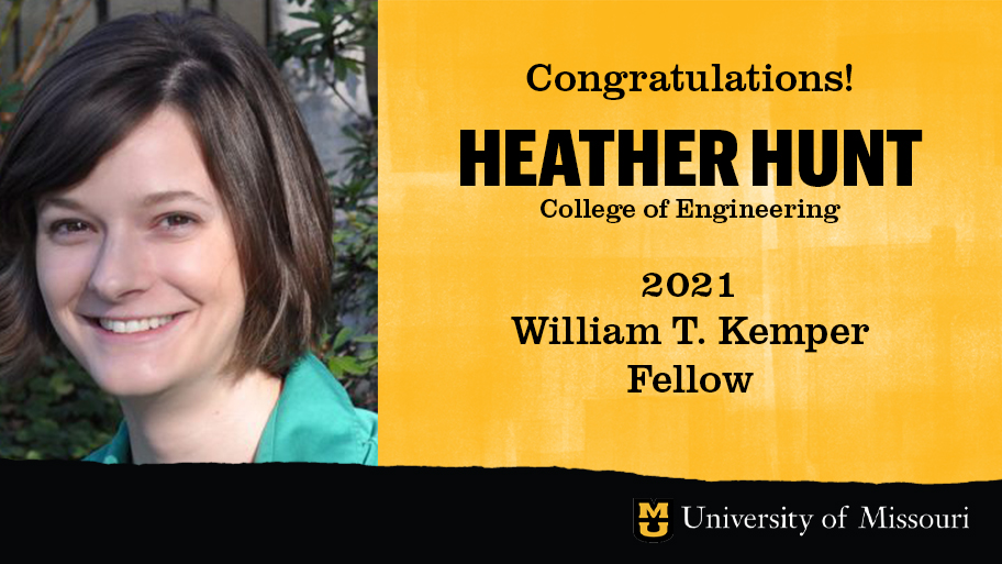headshot of heather hunt with a graphic design