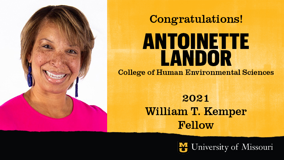 headshot of antoinette landor with a graphic design