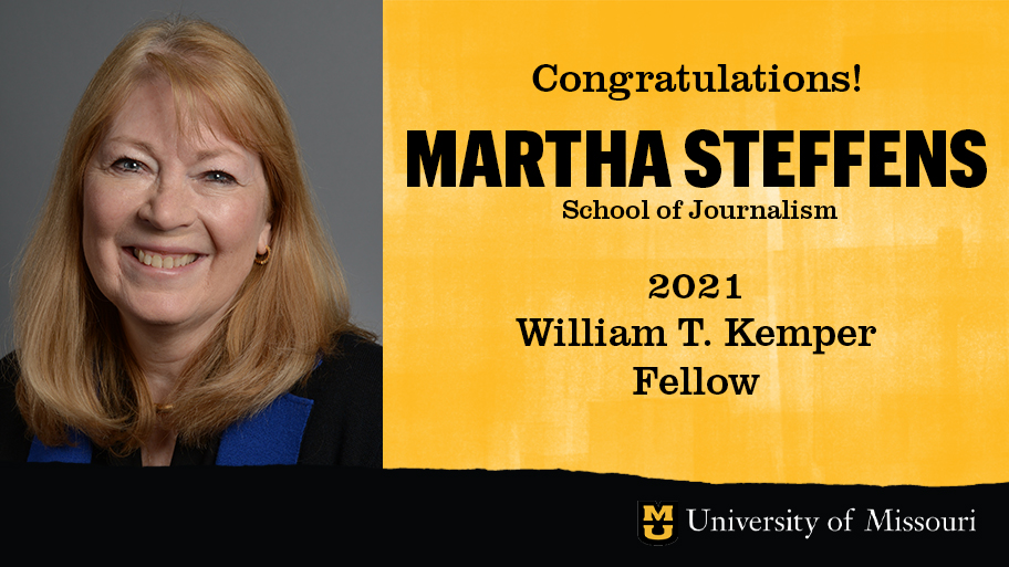 headshot of martha steffens with a graphic design