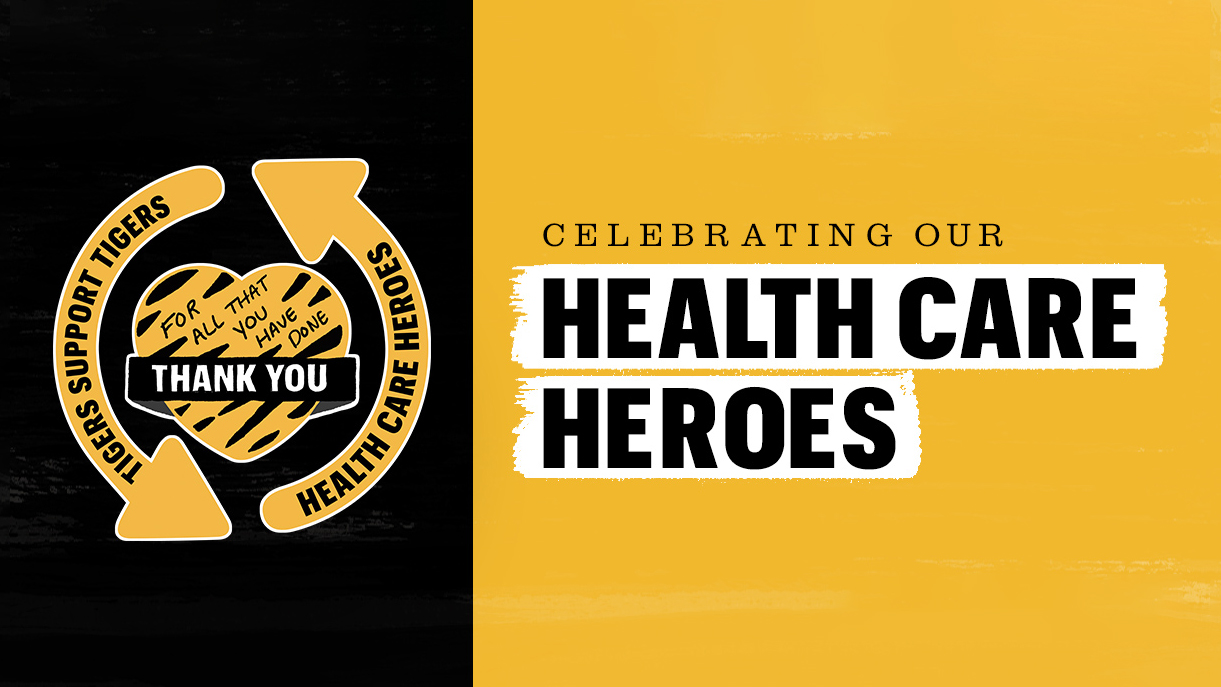 """graphic that says """"thank you"""" and """"celebrating our health care heroes"""""""