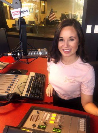 Taylor Kinnerup working as a radio DJ
