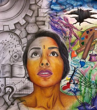 piece of art by Bini Sebastian. Depicts a woman in the center. Half of the drawing is colorful and shows artistic things. The other half is black and white and shows more scientific things