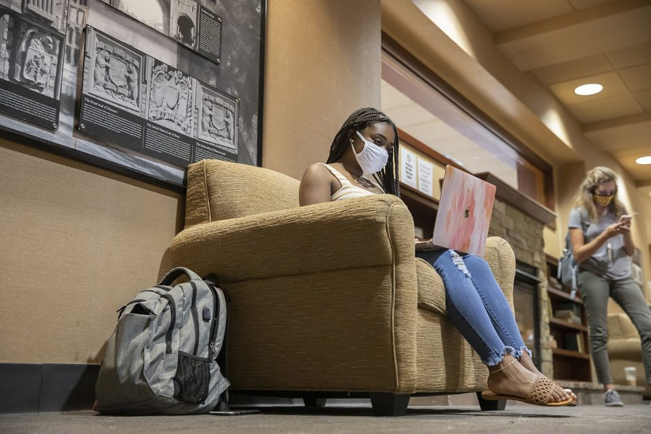 woman studying in a comfortable chair in memorial union