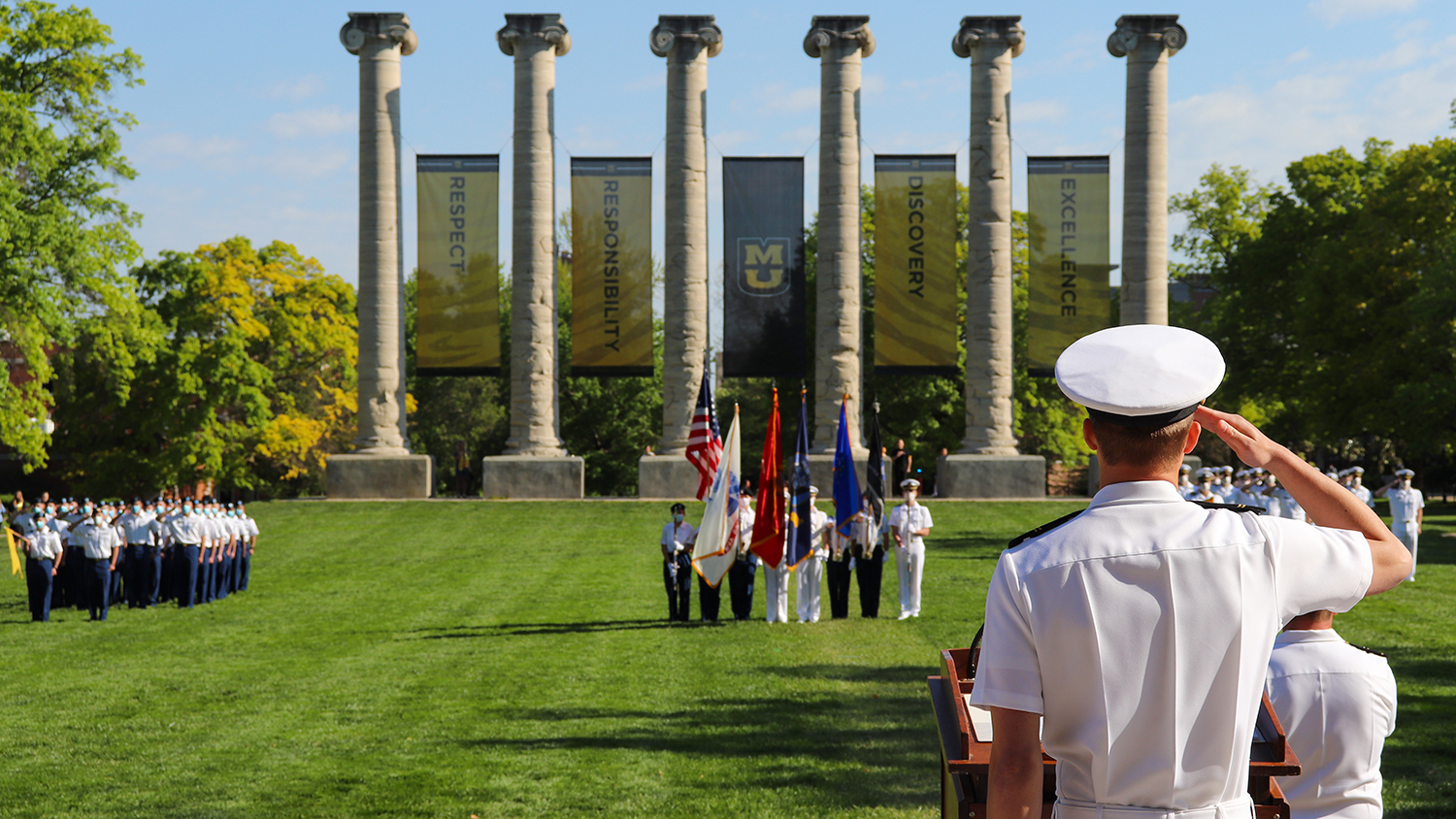 ROTC members on the quad at a ceremony