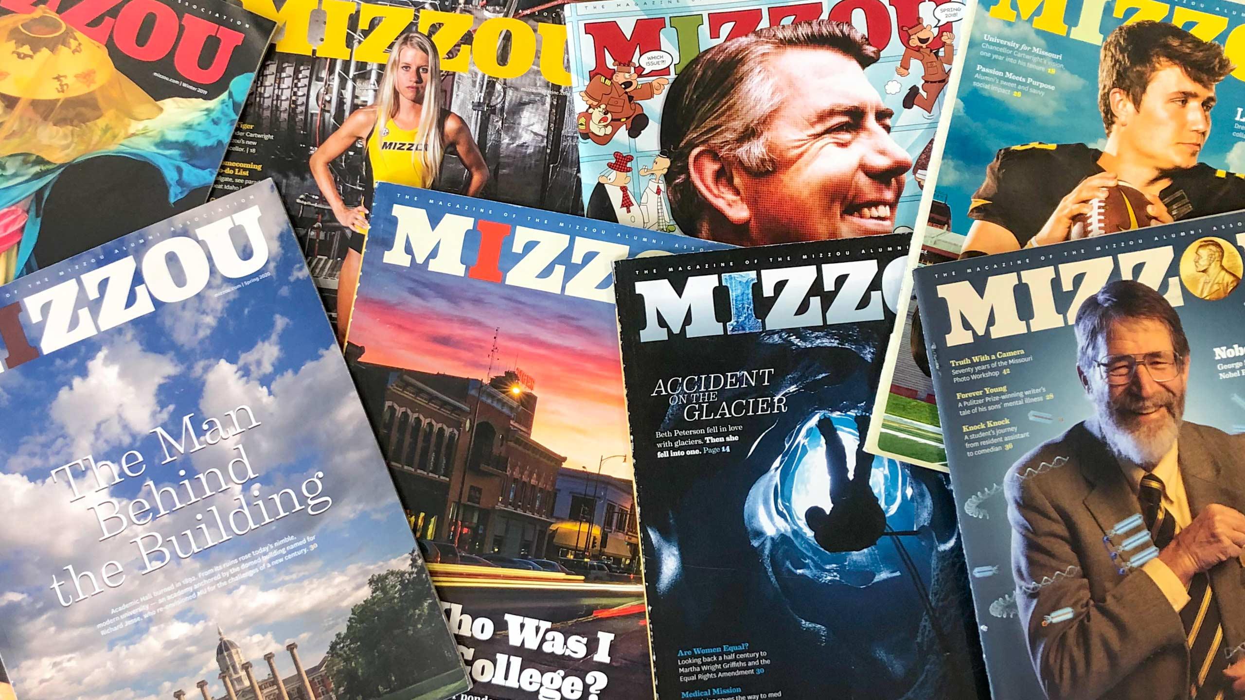 MIZZOU magazines on a table
