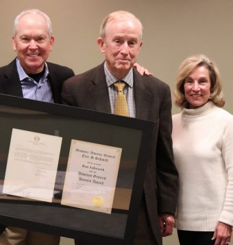 Ron Ashworth (center) with Thompson Center for Autism and Neurodevelopmental Disorders founders Bill and Nancy Thompson.