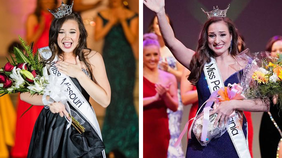 two photos of female students winning their state pageant
